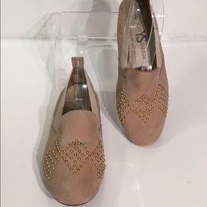 Yosi Samra Ariel Beige Gold Studded Loafer